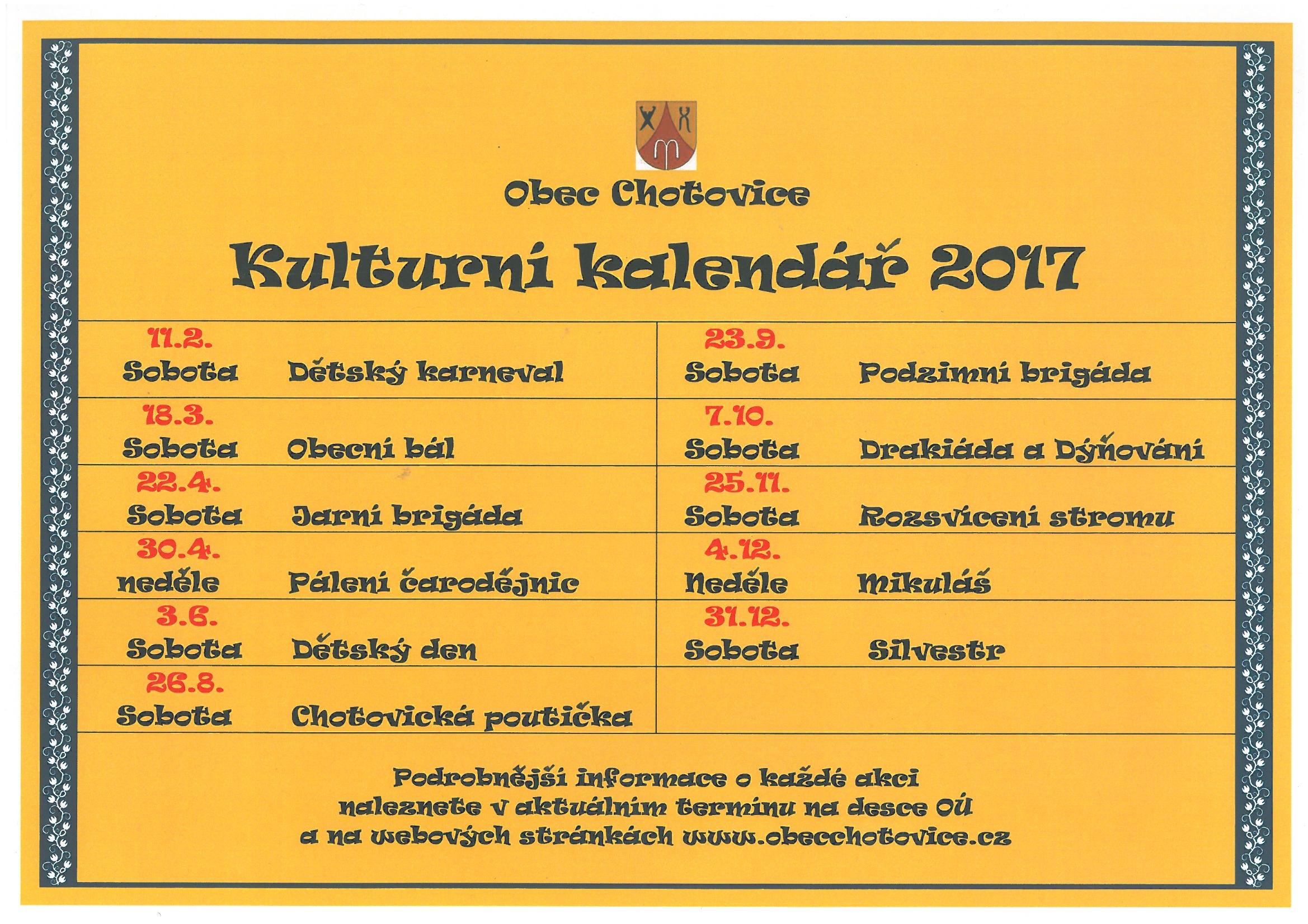 Kulturní kalendář 2017